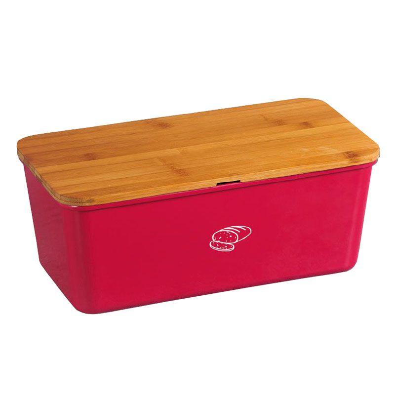 brotkasten brotbox mit schneidbrett rot eckig melamin bambus bpa. Black Bedroom Furniture Sets. Home Design Ideas