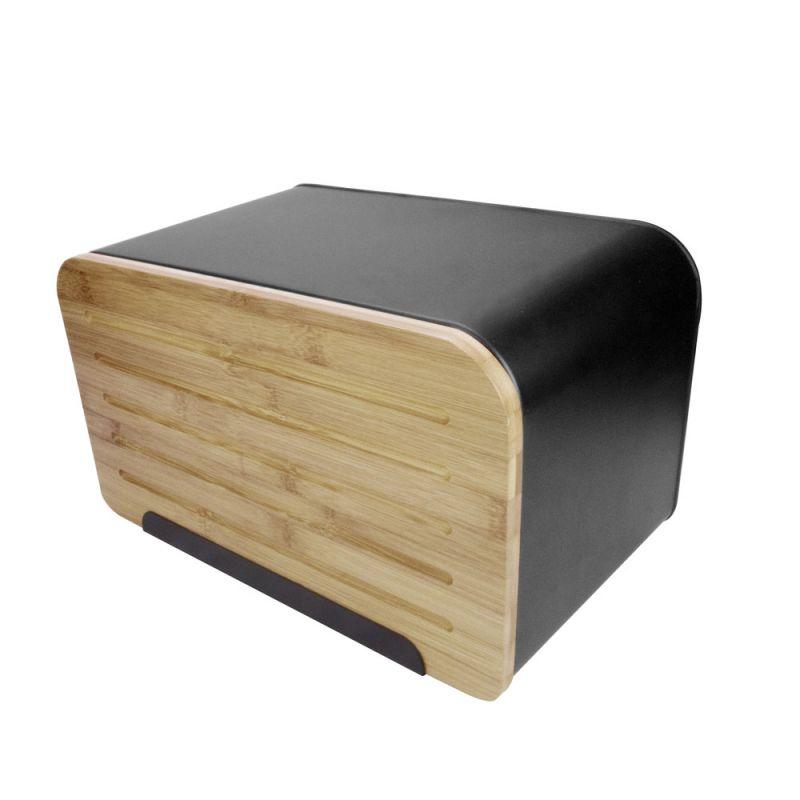 Brotkasten Schwarz brotkasten brotbox brottrommel mit bambusdeckel schneidbrett front
