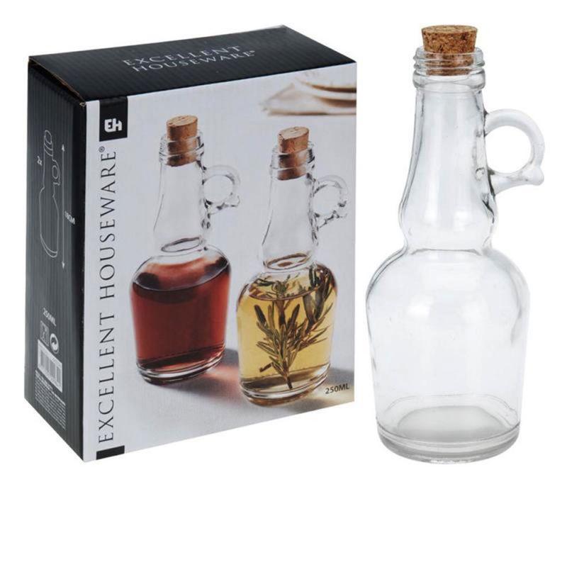 l essig 2 glasflaschen mit korken ca 250 ml ca 7 x 18 cm. Black Bedroom Furniture Sets. Home Design Ideas